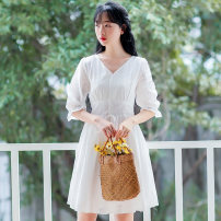 Dress Autumn 2020 white XS,S,M,L,XL Mid length dress singleton  Short sleeve Sweet V-neck High waist Solid color Single breasted A-line skirt puff sleeve Others 18-24 years old Type A Other / other Stitching, bowknot, lace up 71% (inclusive) - 80% (inclusive) brocade nylon Mori