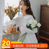 Dress Autumn 2020 white S,M,L Mid length dress singleton  Long sleeves Sweet Doll Collar Loose waist Solid color Socket Ruffle Skirt Princess sleeve Others 18-24 years old Type A Other / other Resin fixation 31% (inclusive) - 50% (inclusive) brocade cotton Mori