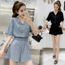 Casual pants Blue black S M L XL 2XL Summer of 2019 shorts Jumpsuit High waist commute routine 18-24 years old 91% (inclusive) - 95% (inclusive) Ciaso other Korean version pocket Other 100% Same model in shopping mall (sold online and offline) Asymmetry