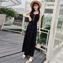 Casual pants black S M L XL Summer of 2019 Ninth pants Jumpsuit High waist commute routine 25-29 years old 91% (inclusive) - 95% (inclusive) X19B1033 Ciaso other Korean version pocket Other 100% Same model in shopping mall (sold online and offline) Asymmetry
