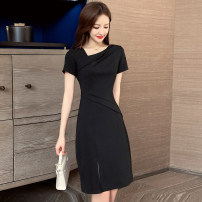 Dress Summer 2020 black S M L XL 2XL Middle-skirt singleton  Short sleeve commute other Elastic waist Solid color Socket One pace skirt routine Others 25-29 years old Ciaso Korean version Pleated zipper X20B779 More than 95% other other Other 100% Same model in shopping mall (sold online and offline)