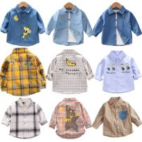 shirt Mother and baby male 80cm 90cm 100cm 110cm 120cm 130cm spring and autumn Long sleeves leisure time other cotton Lapel and pointed collar Cotton 95% other 5% c8788-cs-1 Class A Spring of 2019