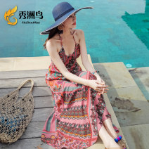 Dress Summer of 2019 Picture color S M L XL XXL longuette singleton  Sleeveless Sweet V-neck High waist Decor Socket Big swing other camisole 25-29 years old Type A Xiuzhou bird More than 95% Chiffon other Other 100% Bohemia Pure e-commerce (online only)