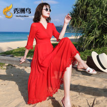 Dress Summer of 2019 White, scarlet S M L XL XXL XXXL Mid length dress singleton  elbow sleeve Sweet V-neck High waist Solid color other other 25-29 years old Xiuzhou bird tassels More than 95% Chiffon other Other 100% Bohemia Pure e-commerce (online only)