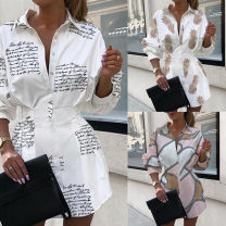 Dress Summer 2020 S,M,L,XL,2XL Short skirt singleton  Long sleeves street Polo collar High waist letter Socket Irregular skirt shirt sleeve Others 25-29 years old Type A Stitching, buttons, print 81% (inclusive) - 90% (inclusive) brocade cotton Europe and America