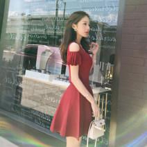Dress Summer of 2018 S,M,L,XL Middle-skirt Short sleeve commute V-neck High waist Solid color Princess Dress puff sleeve Type A literature Splicing