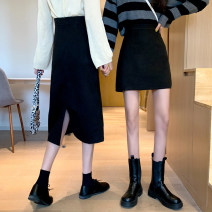 skirt Winter 2020 XXS,XS,S,M,L,XL Black skirt, coffee skirt, blue skirt, black skirt, coffee skirt, blue skirt Mid length dress commute High waist A-line skirt Solid color Type A 18-24 years old 71% (inclusive) - 80% (inclusive) knitting Other / other polyester fiber Korean version