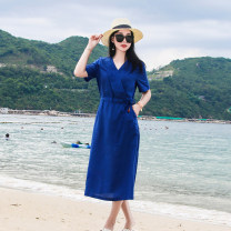 Dress Summer 2020 blue S,M,L Mid length dress singleton  Short sleeve commute V-neck middle-waisted Solid color Socket A-line skirt routine Others 30-34 years old Type X chenyulin literature 31% (inclusive) - 50% (inclusive) hemp