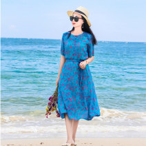 Dress Summer 2020 Decor S,M,L Mid length dress singleton  Short sleeve commute Crew neck middle-waisted Decor Socket A-line skirt routine Others 30-34 years old Type X literature Pocket, lace up, panel, button More than 95% hemp