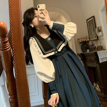 Dress Winter 2020 blue S,M,L,XL Mid length dress singleton  Long sleeves commute High waist A-line skirt routine 18-24 years old Type A Retro