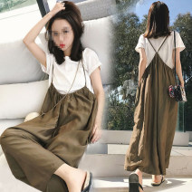 Women's large Spring 2021 skirt Two piece set Sweet Self cultivation thick Socket Short sleeve Solid color Crew neck routine Three dimensional cutting puff sleeve Apricot blossom love 18-24 years old backless Short skirt Other polyester 95% 5% Pure e-commerce (online only) Irregular skirt trousers