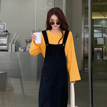 Women's large Spring 2021 Yellow T-shirt [single piece] black strap skirt [single piece] T-shirt + strap skirt [suit] S M L XL 2XL 3XL 4XL skirt Two piece set Sweet Self cultivation thickening Socket Short sleeve Solid color V-neck Medium length Three dimensional cutting puff sleeve 9-17X3588 Mori