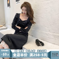 Women's large Spring 2021 Black JH S M L XL 2XL 3XL 4XL Dress singleton  Sweet Self cultivation moderate Socket Short sleeve Solid color V-neck Medium length puff sleeve 12-30C5362-XX Apricot blossom love 18-24 years old Lace stitching longuette Polyester 100% Pure e-commerce (online only) Mori