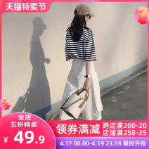 Women's large Spring 2021 skirt Two piece set Sweet Self cultivation thick Socket Short sleeve stripe Crew neck routine Three dimensional cutting puff sleeve Apricot blossom love 18-24 years old pocket Short skirt Other polyester 95% 5% Pure e-commerce (online only) Irregular skirt Cropped Trousers