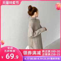 Women's large Spring 2021 Camel JH S M L XL 2XL 3XL 4XL Dress singleton  Sweet Self cultivation moderate Socket Short sleeve Solid color V-neck Medium length puff sleeve 12-21C5323HTS-XX Apricot blossom love 18-24 years old Lace stitching longuette Pure e-commerce (online only) Irregular skirt Mori