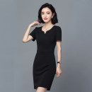 Dress Spring of 2019 S M L XL XXL XXXL 4XL 5XL 6XL Mid length dress singleton  Short sleeve commute Crew neck middle-waisted Solid color Socket One pace skirt routine Others 35-39 years old Type H Ou Yayue Ol style Pocket stitching zipper 515 short sleeve More than 95% knitting other Other 100%
