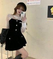 skirt Spring 2021 S,M,L Black skirt, suspender + top two piece set Short skirt commute High waist Umbrella skirt Solid color Type A DB122703 81% (inclusive) - 90% (inclusive) velvet polyester fiber Korean version