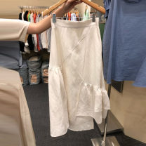skirt Summer 2021 S,M,L,XL Black, blue, beige Mid length dress commute High waist A-line skirt Solid color Type A 25-29 years old 71% (inclusive) - 80% (inclusive) other Other / other cotton Splicing Korean version
