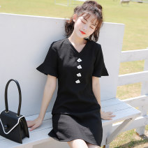 Dress Spring 2021 A99l428 black Average size Middle-skirt singleton  Short sleeve commute V-neck middle-waisted Solid color Socket Ruffle Skirt routine Others 18-24 years old Type A topic of conversation Ol style A99l428 black 31% (inclusive) - 50% (inclusive) polyester fiber