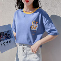 T-shirt S M L XL Spring 2020 Short sleeve Crew neck easy Medium length routine commute cotton 96% and above 18-24 years old Simplicity youth Cartoon animation topic of conversation 92t111 gray blue Cotton 100% Pure e-commerce (online only)