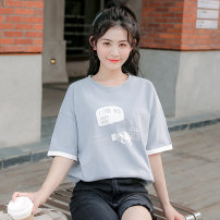 T-shirt S M L XL Summer 2020 Short sleeve Crew neck easy Regular raglan sleeve cotton 96% and above 18-24 years old letter topic of conversation Cotton 100% Pure e-commerce (online only)