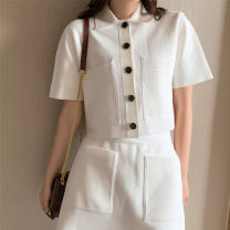 Wool knitwear Summer 2020 1 / s, 2 / m, 3 / L White top, white skirt Short sleeve Two piece set Cardigan Viscose 51% (inclusive) - 70% (inclusive) Regular routine commute easy Polo collar routine Solid color Single breasted 25-29 years old SANDRO TEAM