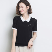 T-shirt White green blue red black M L XL 2XL Summer 2020 Short sleeve Doll Collar easy have cash less than that is registered in the accounts routine commute other 96% and above Korean version Color matching Huanjinshan / golden fir HJS20X8002Y Thread embroidery Other 100%