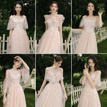 Dress / evening wear Weddings, adulthood parties, company annual meetings, daily appointments XS S M L XL XXL Korean version Medium length middle-waisted Autumn of 2019 Self cultivation Deep collar V Bandage 18-25 years old Short sleeve Solid color Aipioeir / Aibo other Polyester 90% other 10%