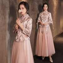 Dress / evening wear Weddings, adulthood parties, company annual meetings, daily appointments XS S M L XL XXL 03 pink Chinese long a 03 pink Chinese long b Retro longuette middle-waisted Winter 2020 Self cultivation stand collar Bandage 18-25 years old three quarter sleeve Decor Aipioeir / Aibo