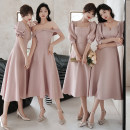 Dress / evening wear Weddings, adulthood parties, company annual meetings, daily appointments XS S M L XL XXL 2123 pink medium long a 2123 Pink Medium Long B 2123 Pink Medium Long C 2123 Pink Medium Long D grace Medium length middle-waisted Summer 2021 Self cultivation square neck zipper Short sleeve