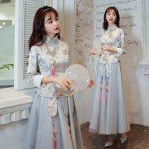 Dress / evening wear Weddings, adulthood parties, company annual meetings, daily appointments XS S M L XL XXL Cotton cheongsam grey a cotton cheongsam grey B Retro longuette middle-waisted Winter 2020 Self cultivation stand collar zipper 18-25 years old Long sleeves Solid color Aipioeir / Aibo other