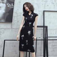 cheongsam Summer 2020 S M L XL XXL XXXL Black Medium Length Sleeveless long cheongsam Retro No slits daily Straight front Big flower 18-25 years old Piping PLL871 Pinley other Other 100% Exclusive payment of tmall 96% and above