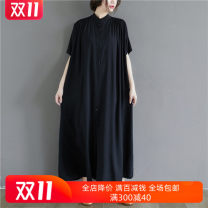 Women's large Summer 2020 Black and white Big size average Dress singleton  commute easy Cardigan Short sleeve Solid color literature stand collar Polyester cotton routine AZQL59100 Yingluolan longuette Other 100%