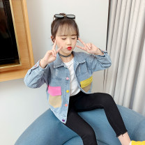 Plain coat Song Flag female 110cm 120cm 130cm 140cm 150cm 160cm Denim wt212 jacket + black pants tz483 spring and autumn leisure time Single breasted There are models in the real shooting routine nothing other Denim square neck WT212 Other 100% Class B Spring 2020