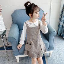 suit Song Flag 100cm 110cm 120cm 130cm 140cm 150cm 160cm female spring and autumn Korean version Long sleeve + skirt 2 pieces routine There are models in the real shooting Socket nothing lattice other children Expression of love Class B Other 100% Autumn 2020