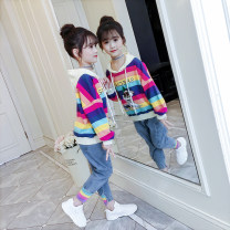 suit Song Flag Rainbow Stripe [standard size, please don't be greedy] 100cm 110cm 120cm 130cm 140cm 150cm 160cm female spring and autumn Korean version Long sleeve + pants 2 pieces routine There are models in the real shooting Socket No detachable cap stripe children Expression of love TZ292 Class B