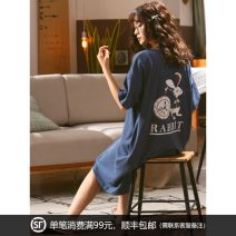 Nightdress Meijiachen 160(M),165(L),170(XL),175(XXL),3XL,4XL Sweet Short sleeve pajamas Middle-skirt summer Cartoon animation youth Crew neck cotton printing More than 95% pure cotton 200g and below