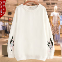 Women's large Autumn of 2018 White black Sweater / sweater singleton  commute easy moderate Socket Long sleeves Animal pattern solid color lady Crew neck routine Cotton others Three dimensional cutting Wrap sleeves Goodlanka / gotilanka 25-29 years old Embroidery Cotton 95% other 5%