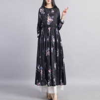 Dress Spring 2021 Blue black Navy rose M L XL Mid length dress singleton  Long sleeves commute Crew neck Loose waist Decor Socket Pleated skirt routine Others 40-49 years old Type A Beccaccio ethnic style Pleated pocket print BKQ790 More than 95% hemp Flax 100% Pure e-commerce (online only)