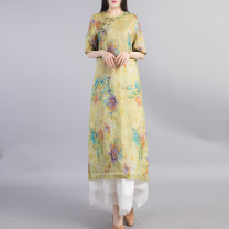 Dress Spring 2021 Blue yellow green L XL Mid length dress singleton  Short sleeve commute Crew neck Loose waist Decor Socket A-line skirt routine Others 40-49 years old Type A Beccaccio ethnic style Button print on pocket BKQ613 More than 95% hemp Ramie 100% Pure e-commerce (online only)