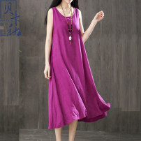 Dress Summer of 2018 White black red water green autumn fragrant green high Purple Pink bright orange autumn yellow rose red watermelon red grass green L XL Mid length dress Sleeveless commute Crew neck Loose waist Solid color Socket Irregular skirt 40-49 years old Beccaccio literature BKQ8891XX