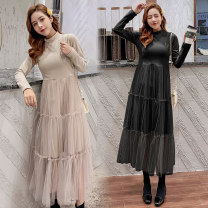 Dress Autumn 2020 Black, apricot M,L,XL,2XL Mid length dress singleton  Long sleeves commute Crew neck High waist Socket A-line skirt routine Others Type A Korean version 81% (inclusive) - 90% (inclusive) brocade cotton
