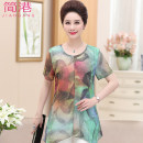 Middle aged and old women's wear Spring of 2018 XL2XL3XL4XL Green red fashion T-shirt other 40-49 years old six thousand seven hundred and thirteen Jiangang Other 100% Pure e-commerce (online only)