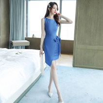 Dress Summer of 2019 blue S M L Mid length dress singleton  Sleeveless commute Crew neck High waist Solid color zipper Irregular skirt other Others 25-29 years old LAN fan Korean version More than 95% polyester fiber Polyester 100% Pure e-commerce (online only)