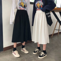 Women's large Winter of 2019, autumn of 2019 Black [thick], white [thick] L [85-100kg], XL [100-130kg], 2XL [130-165kg], 3XL [165-200kg] skirt singleton  Sweet easy thick Solid color Cotton, others Three dimensional cutting Jie-2097 YUEBAN 18-24 years old 81% (inclusive) - 90% (inclusive) other
