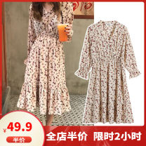 Women's large Spring 2020 Picture color S M L XL 2XL 3XL 4XL Dress singleton  commute easy moderate Conjoined Long sleeves Broken flowers Korean version other Medium length Three dimensional cutting other Dieliting 18-24 years old longuette Other polyester 95% 5% Pure e-commerce (online only)