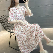 Dress Summer 2021 white S M L XL longuette singleton  Short sleeve commute Doll Collar Broken flowers Socket routine Others 25-29 years old OEDEL Korean version Stitching buttons OE17633HTHL208175798 More than 95% other Other 100%