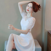 Dress Summer 2020 S M L XL Short skirt singleton  Short sleeve commute V-neck High waist Solid color zipper A-line skirt bishop sleeve Others 25-29 years old Type A Misogh Korean version TMQZ2020-B9918 81% (inclusive) - 90% (inclusive) polyester fiber Pure e-commerce (online only)