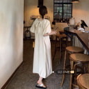 Dress Summer 2020 Apricot, purple Average size longuette singleton  Short sleeve commute square neck High waist Solid color Socket Big swing puff sleeve Others 18-24 years old Type A Other / other Korean version 30% and below other other