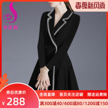Dress Spring of 2019 black S M L XL 2XL 3XL Mid length dress singleton  Long sleeves street tailored collar High waist Solid color double-breasted A-line skirt routine Others 30-34 years old Cavalli Pleated button More than 95% polyester fiber Polyester 100% Pure e-commerce (online only)